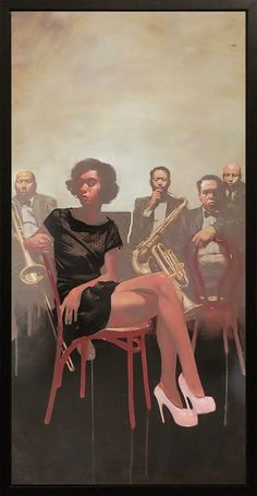 Michael Carson (b. 1972), oil on canvas {contemporary figurative art female seated female jazz musicians woman paintings drips #loveart}