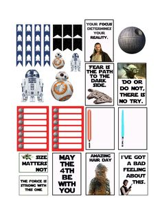 Free Star Wars Planner Inserts and Clips. Free printable inserts made for planners. Themed to go with May the 4th - Star Wars themed.