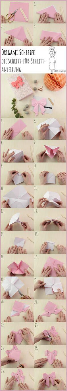 DIY Origami Schleife falten - einfach Schritt für Schritt erklärt. Perfekt als Geschenkdeko oder zum Karten selbermachen (besonders schön für Hochzeitskarten) geeignet