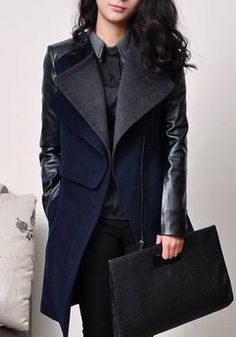 Navy Blue Patchwork V-neck Long Sleeve Wool Coat