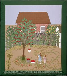 """34 – PICKING CHERRIES  (From the picture): """"July 1954. In the yard of our house in Brooklyn, I climbed to the top of the tree and sent down buckets of cherries to my two girls, Bernice and Helene. A neighbor boy called to Bernice to ask who was in the tree and could not believe it when she told him it was her mother. When I was a little girl, my grandmother had told me that money grew on trees in America. 'Buba,' I said, 'I'm good at climbing trees!' 'I know,' she said. I remembered that…"""
