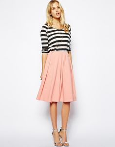 ASOS Midi Skirt in Ponte with Bold Pleats