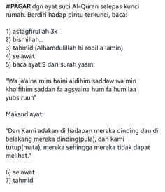 DOA 'MEMAGAR' RUMAH Prayer Quotes, Words Quotes, Me Quotes, Motivational Quotes, Islamic Love Quotes, Muslim Quotes, Islamic Inspirational Quotes, Doa Islam, Allah Islam