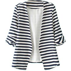 Blue And White Stripes Roll Up Sleeve Slim Blazer ($33) ❤ liked on Polyvore featuring outerwear, jackets, blazers, coats, blue and white jacket, biker style jacket, slim jacket, stripe blazer and slim fit blazer