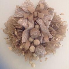 Christmas burlap wreath very fluffy and elegant by CraftsbyBeba