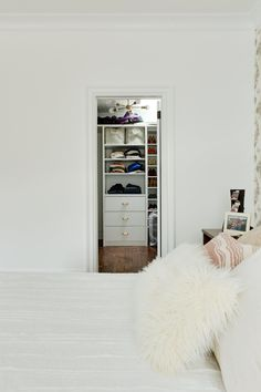 The master closet is small, but efficient. It even includes a skylight.