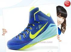 the best attitude 6a238 a752f Authentic 653640-003 Borland   fluorescent green   blue Nike Hyperdunk 2014  Mens Baskets,