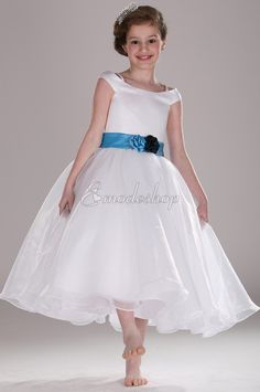 Off the Shoulder Organza over Satin Flower Girl Dress with Floral Ribbon Sash Bridesmaid Dresses Uk, Wedding Party Dresses, Cute Flower Girl Dresses, Cute Dresses, Flower Girls, Dress P, Dress For You, Girls Pageant Dresses, Organza Flowers