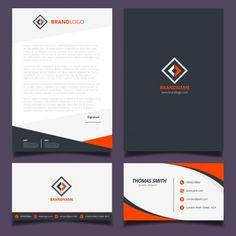 Orange and black corporate identity design  Free Vector