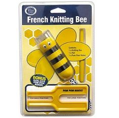 The classic French Knitting Bee pack includes: - 1 x Knitting Bee - 1 x Awl - 1 x Dual-Size Pom-Pom Maker (makes both small and large pom-poms) Diy For Kids, Gifts For Kids, Large Pom Poms, Pom Pom Maker, Knitting Blogs, Knitting Accessories, Crochet Gifts, Bee, French