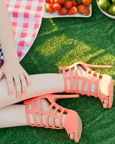 Glee-90 Strappy Neon Faux Suede Caged Heel - Fruit Salad collection by Jen Hadfield