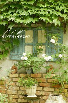 shabby chic brick wall garden cottage decor