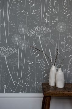 Paper meadow Wallpaper in Charcoal by Hannah Nunn.  photo by http://www.sarahmasonphotography.co.uk/  Ceramics by http://www.ikukoi.co.uk/ from http://www.snug-gallery.com/