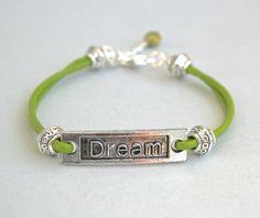 Genuine LEATHER Cord Silver DREAM Bracelet  Color by BeMyCharm, $10.75