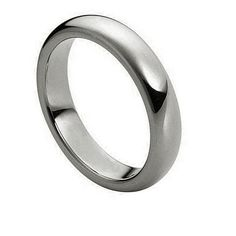 High Polish Thin Rounded Tungsten Ring 4mm