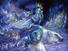 Polar Princess by Josephine Wall With hair of glistening crystal and a cloak of giant snowflakes the princess rides her trusty polar steed, on an adventure into the arctic night. Leaving her icy palace she leads her animal friends to explore the great white wilderness that is her realm. Her way illuminated by the mighty aurora borealis, and her dress shimmering in its rainbow light, she feels content.
