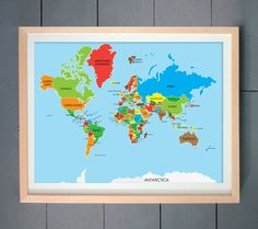 This World Map showing all the countries in the world in style.