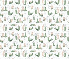 Cats and Wellies Pastel fabric by badger