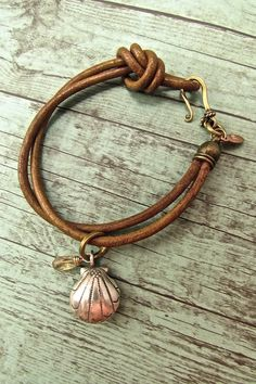 Handmade Boho Chic Bracelets, Leather Cord Bracelets, Hill Tribe Silver Seashell Bracelet, Hippie Chic Jewelry