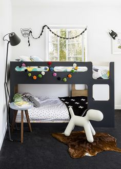 "Forgiving as well as stylish, charcoal is a great colour choice for children's rooms.   ** Bunks** from [Domayne](http://www.domayneonline.com.au/?utm_campaign=supplier/|target=""_blank""). Design House Stockholm **floor lamp** from [Life Interiors](http://www.lifeinteriors.com.au/?utm_campaign=supplier/