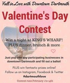 From @downtowndartmouth / get more info at downtowndartmouth.ca . Fall in love with Downtown Dartmouth this February! Local businesses are coming together to offer an incredibly romantic gift package to one lucky winner: A night in a luxury suite at King's Wharf on Saturday February 18 with dinner breakfast delivered to your suite and all kinds of romantic trimmings! . To win just pop into any of the participating downtown Dartmouth businesses to fill out a ballot between February 1 and…