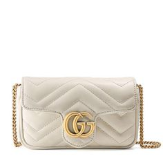 98236986fbfe9 Marmont Super Mini Chain Gg White Leather Cross Body Bag