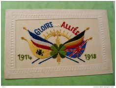 Carte Brodee  Patriotique Gloire Aux Allies Drapeau Belge Francais Grande…