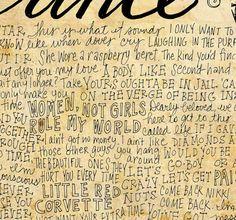 Prince lyrics and quotes print 8x10 handdrawn and