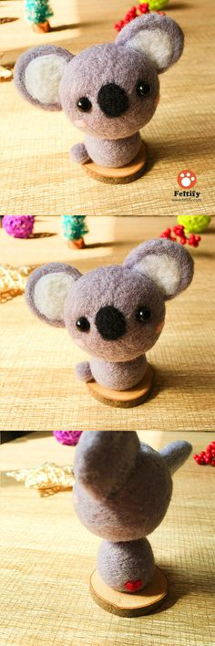 Handmade Needle felted felting kit project Animals Koala cute for beginners starters