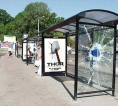 One of the best examples of guerilla advertising. This is promoting for the movie 'Thor' which makes it look as if thor has thrown his hammer through a bus shelter from one side to the other. Personally I find this more effective then if they had used the typical movie posters.