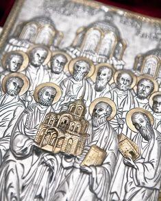 Silver Gospel in velvet with gold decoration Height: Width: Byzantine Art, Utensils, Velvet, Decoration, Gold, Handmade, Decor, Hand Made, Flatware