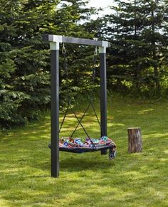 Kinderschaukel Cubic l Holzschaukel l Doppelschaukel l Nestschaukel l Schwarz - diy garden decor kids Backyard Swings, Backyard Playground, Backyard For Kids, Backyard Patio, Backyard Landscaping, Garden Kids, Landscaping Ideas, Pergola Ideas, Playground Ideas