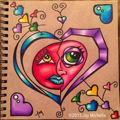 Sketchbook page. Marker and Prismacolor pencil on recycled paper.  ©2015 Joy Michelle  #cRaZyArTiSt #JoyMichelleArts