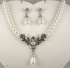 64648f304d0 White tear drop pearl   crystal necklace   earrings set