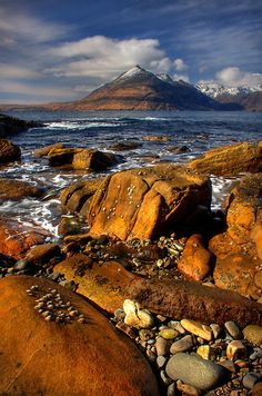Elgol Seashore, and the Cuillin Mountains, Isle of Skye, Scotland.