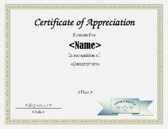 Appreciation Certificate Template Appreciation