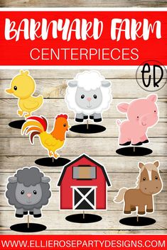 Barnyard and Farm Animal Party Decoration Centerpieces. These table decorations will make a cute addition to a boy / girl birthday party or a baby shower party table. Farm Animal Birthday, Farm Birthday, Boy Birthday Parties, Birthday Party Decorations, Table Decorations, Centerpieces, Birthday Ideas, Tractor Birthday, Kids Party Games