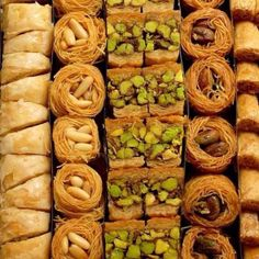 Many varieties of the delicious Greek dessert, baklava. How beautiful!
