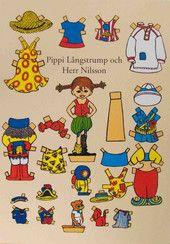 Peppi ja Herra Nilsson pieni paperinukkekortti | Perromania - pieni postikorttikauppa