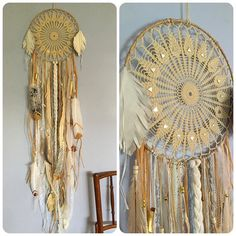"""Five foot long #dreamcatcher with vintage lace and mirrored 12"""" diameter center, gold tipped glitter feathers, some gold painted bone vertebra and a gold key, lots of lace and natural grasses, offered here for $275 plus shipping before it goes on my #Etsy"""