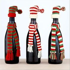 Christmas crafts with wine bottles. Because lord knows you will have plenty of wine with the stress of December. #wine #christmas #christmasDIY
