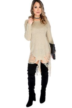 Knitted sweater dresses are a must have this FALL! It features; knit, bateau neckline, long sleeves, semi-sheer, high-low hemline, distressed detailing and a cozy fit. 100% Acrylic