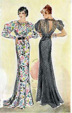 1935, silk and wool crepe, silk georgette, satin, panne velvet, organdie.   semi-fitted, bias-cut, narrow belts.