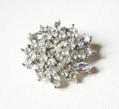 Vintage Clear Diamond Rhinestone Brooch  Vintage by FembyDesign, $23.00