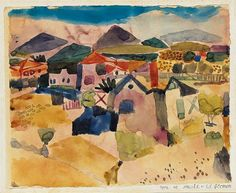 """View of Saint Germain by Paul Klee. It's is a pivotal work in Klee's oeuvre. I am a painter."""" Part of Columbus Museum of Art's Sirak Collection. Art Aquarelle, Abstract Watercolor, Saint Germain, Paul Klee Art, August Macke, Wassily Kandinsky, Art Plastique, Famous Artists, Oeuvre D'art"""
