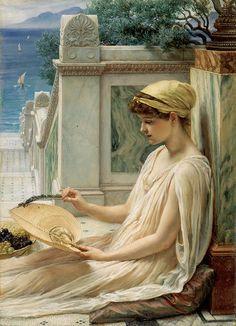 右) エドワード・ジョン・ポインター《テラスにて》1889年に最初の出品 油彩・パネル ©Courtesy National Museums Liverpool, Walker Art Gallery