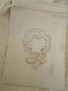 Hand Stamped Muslin Gift Bags  Betty Boo by frenchcountry1908, $1.50