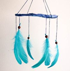 Blue Baby Nursery Mobile - Blue Nights - Childrens Baby Crib Mobile with Turquoise Green Swallow Feathers - Home Decor