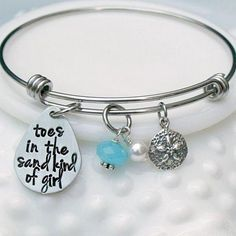 cf9973677d0 Personalized Photo Charms Compatible with Pandora Bracelets. Toes in the  Sand Kind of Girl Alex and Ani Style Expandable Beach Bangle Bracelet