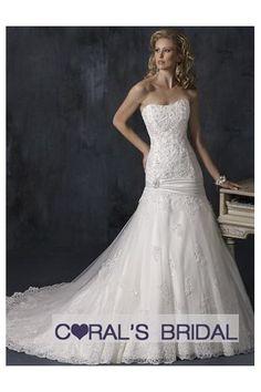 Lace appliques tulle corset wedding dress wd10136